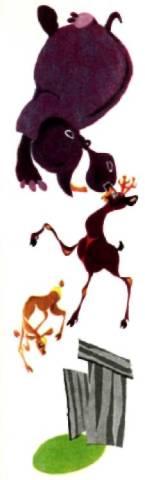 Бегемот, олень с олененьком играют рядом с деревенским туалетом