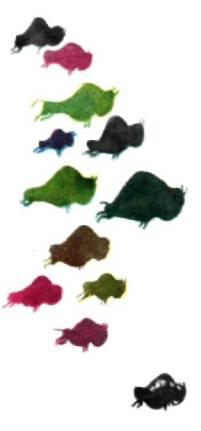 Стая бегущих разноцветных бизонов